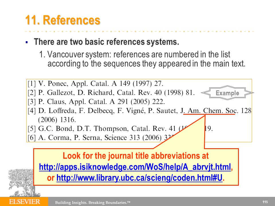 11. References There are two basic references systems.
