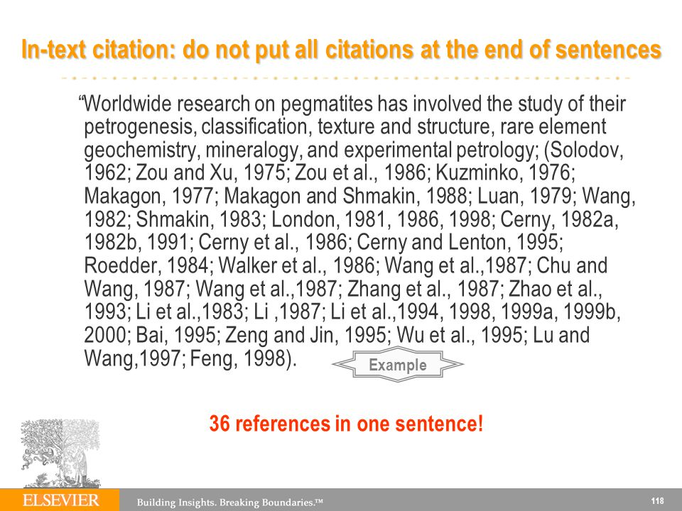 In-text citation: do not put all citations at the end of sentences