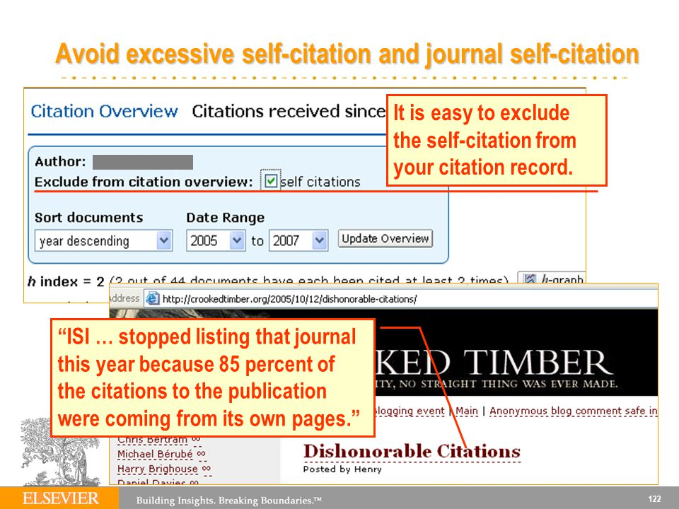 Avoid excessive self-citation and journal self-citation
