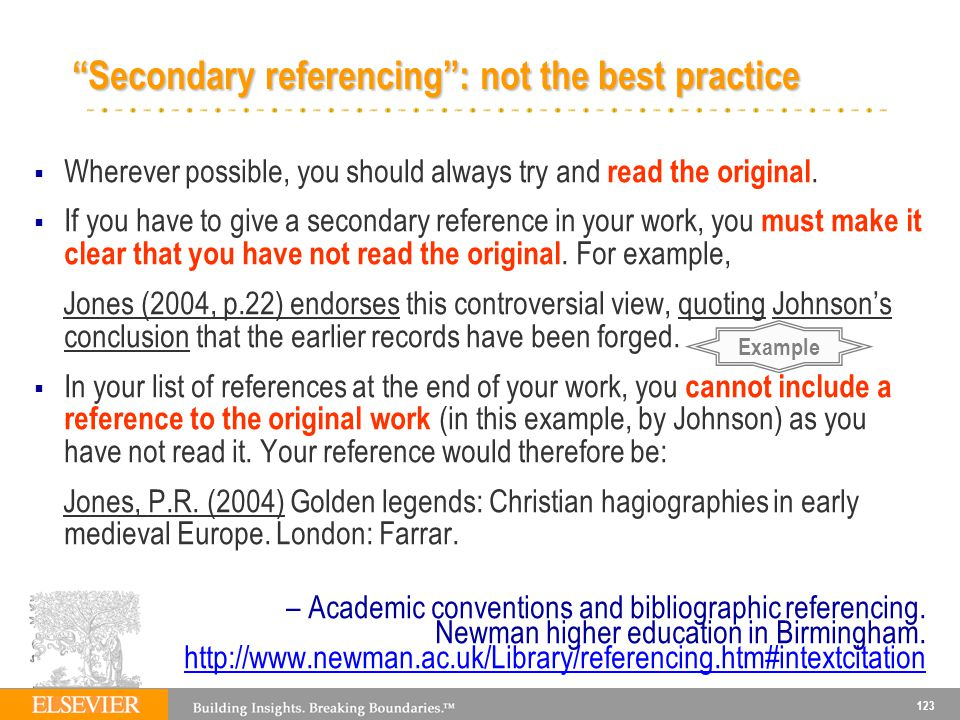 Secondary referencing : not the best practice