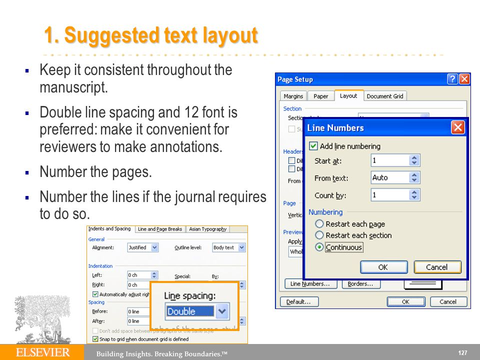 1. Suggested text layout Keep it consistent throughout the manuscript.