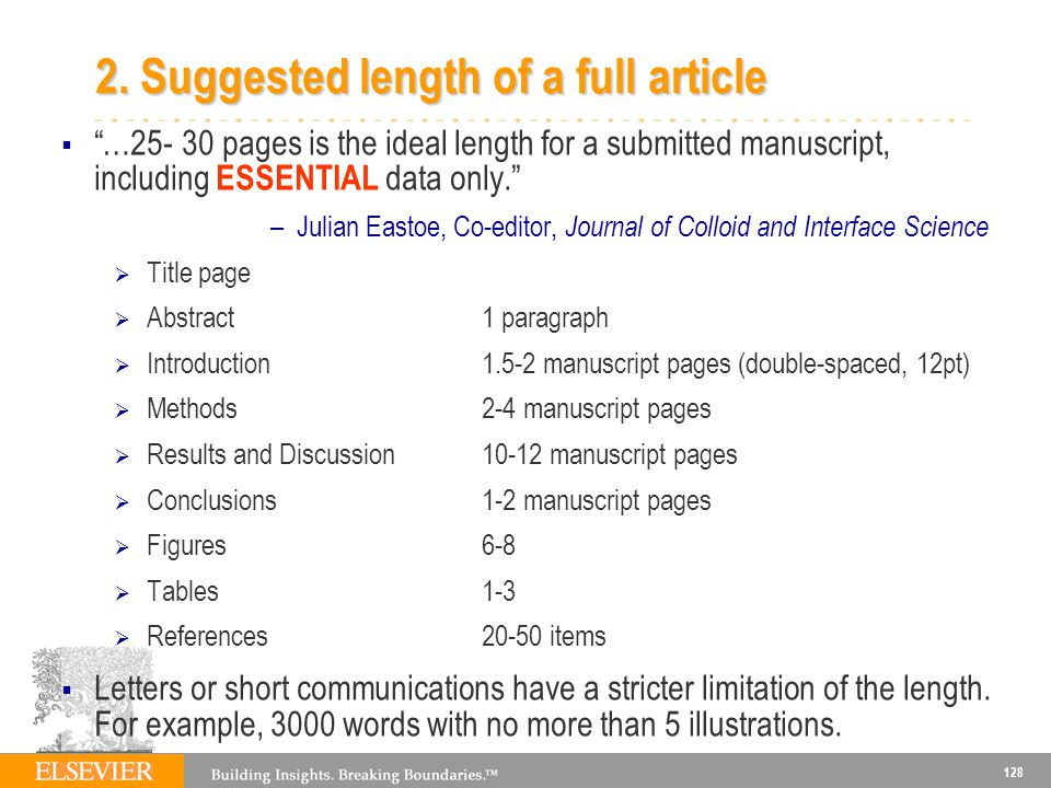 2. Suggested length of a full article