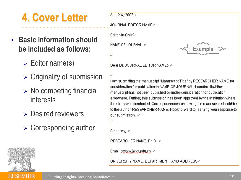 4. Cover Letter Basic information should be included as follows: