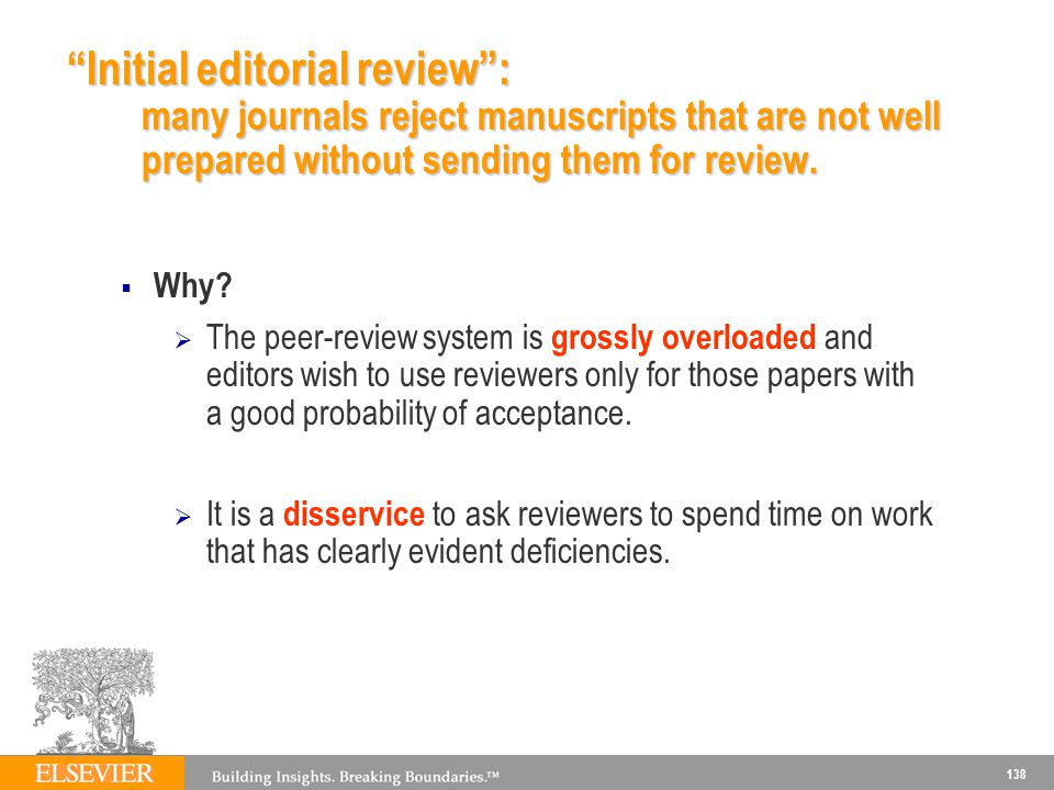 Initial editorial review : many journals reject manuscripts that are not well prepared without sending them for review.