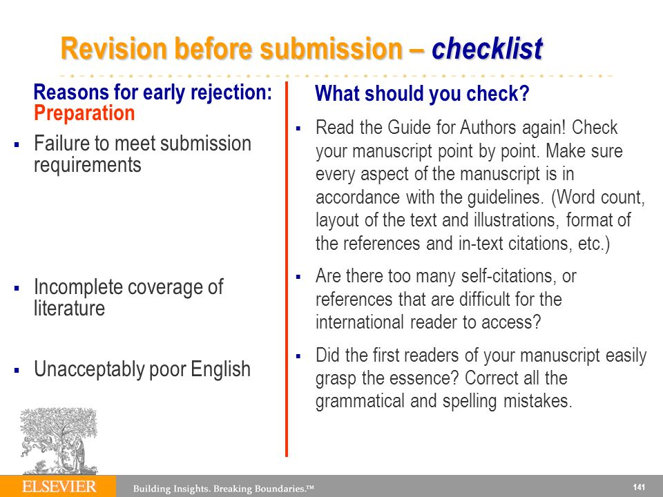 Revision before submission – checklist