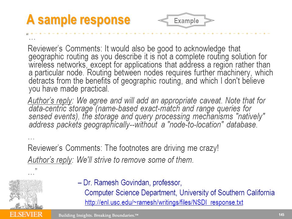A sample response Example. …