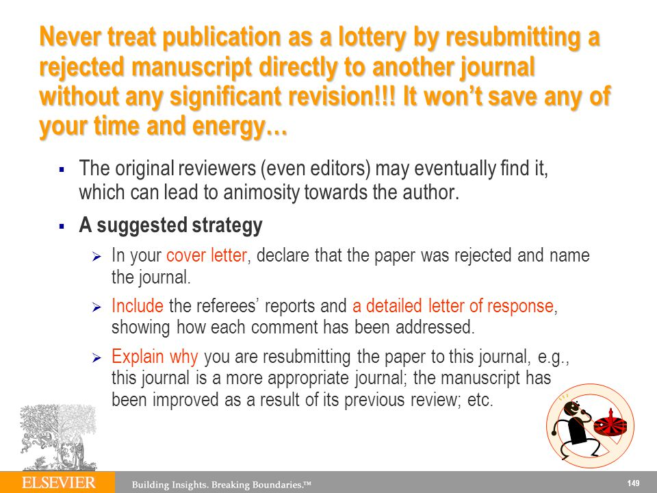 Never treat publication as a lottery by resubmitting a rejected manuscript directly to another journal without any significant revision!!! It won't save any of your time and energy…