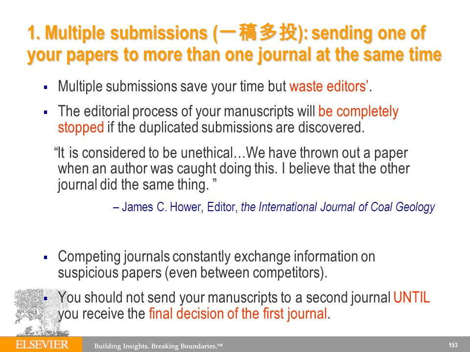 1. Multiple submissions (一稿多投): sending one of your papers to more than one journal at the same time