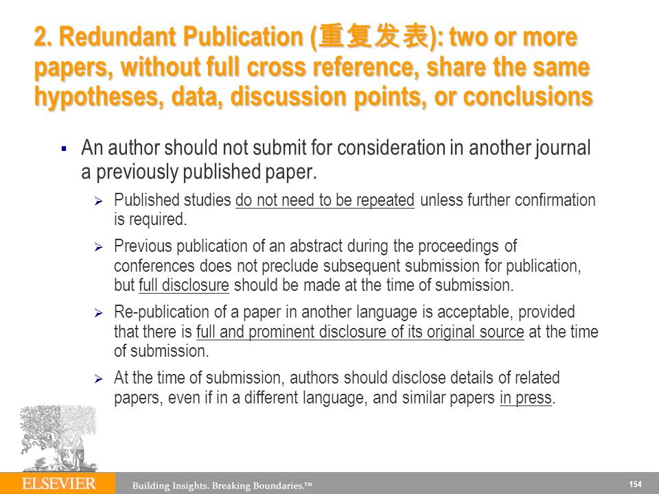 2. Redundant Publication (重复发表): two or more papers, without full cross reference, share the same hypotheses, data, discussion points, or conclusions