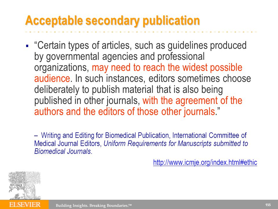 Acceptable secondary publication
