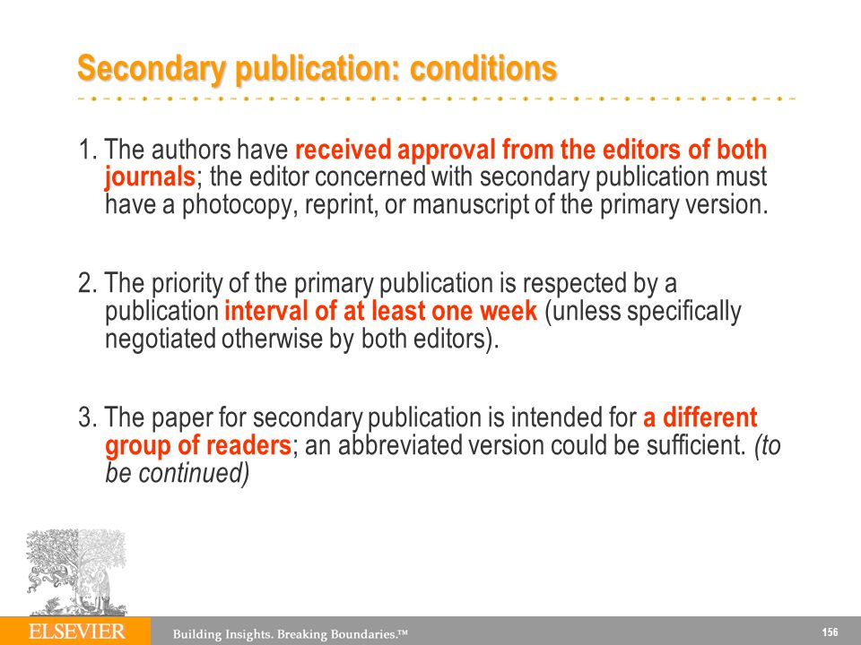 Secondary publication: conditions