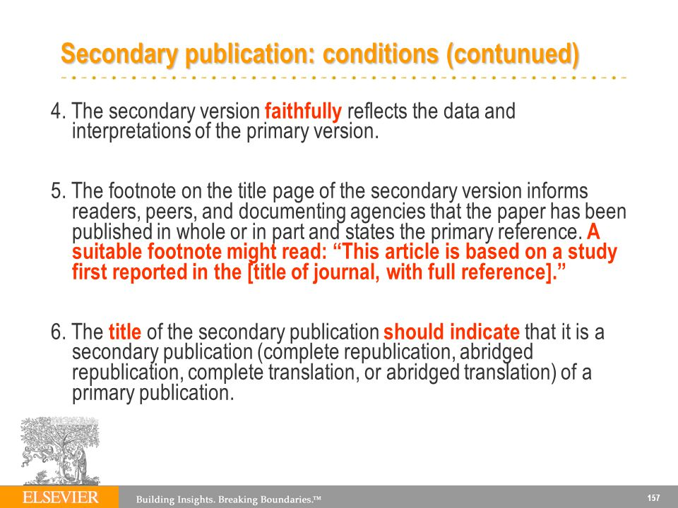 Secondary publication: conditions (contunued)