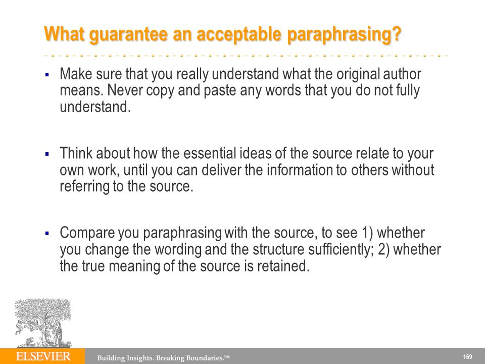 What guarantee an acceptable paraphrasing
