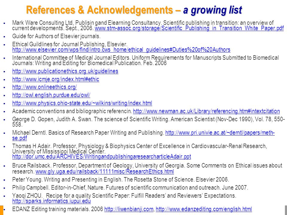 References & Acknowledgements – a growing list