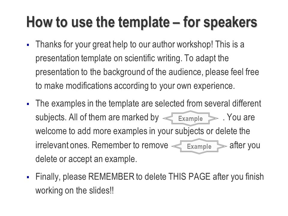 How to use the template – for speakers