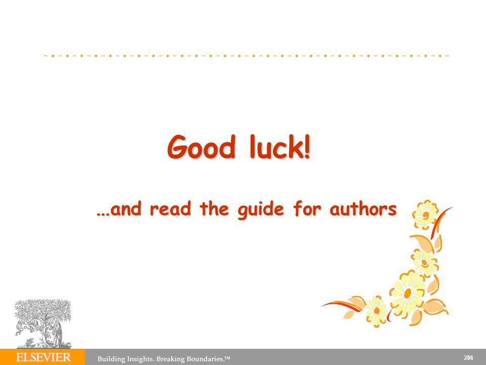Good luck! …and read the guide for authors