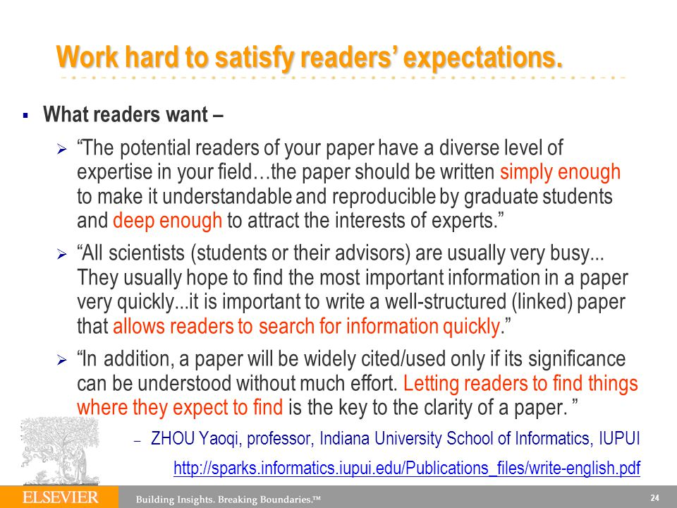 Work hard to satisfy readers' expectations.