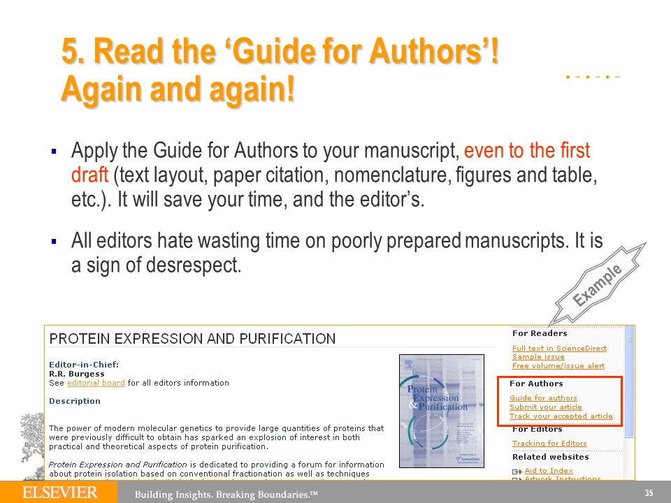 5. Read the 'Guide for Authors'! Again and again!