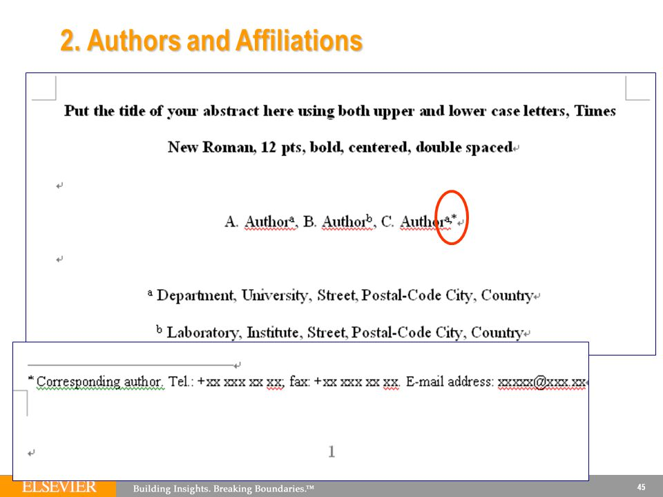 2. Authors and Affiliations