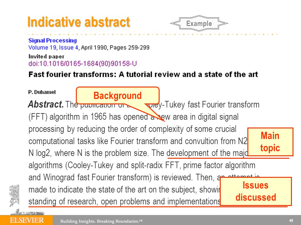 Indicative abstract Background Main topic Issues discussed