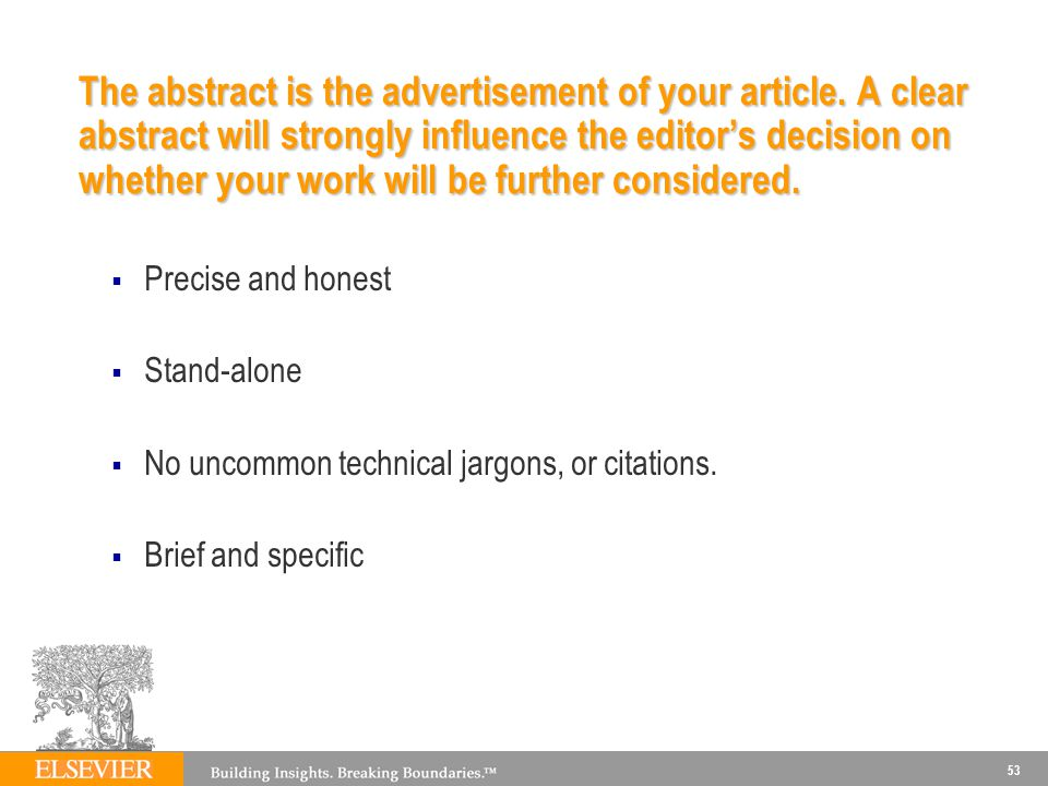 The abstract is the advertisement of your article