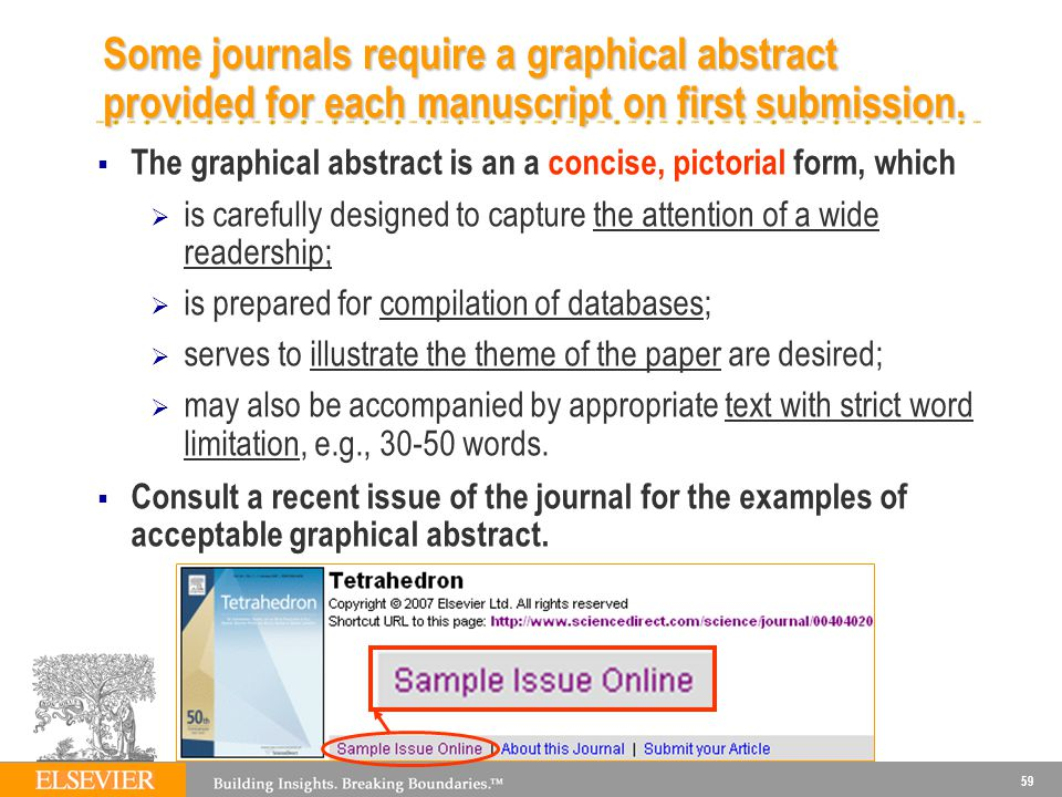 Some journals require a graphical abstract provided for each manuscript on first submission.