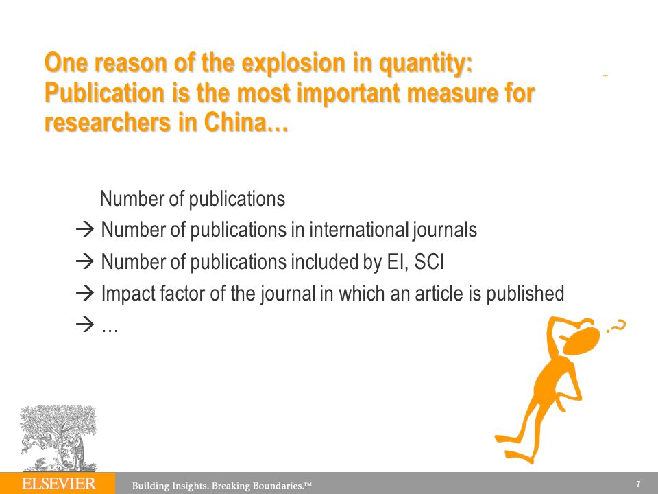 One reason of the explosion in quantity: Publication is the most important measure for researchers in China…