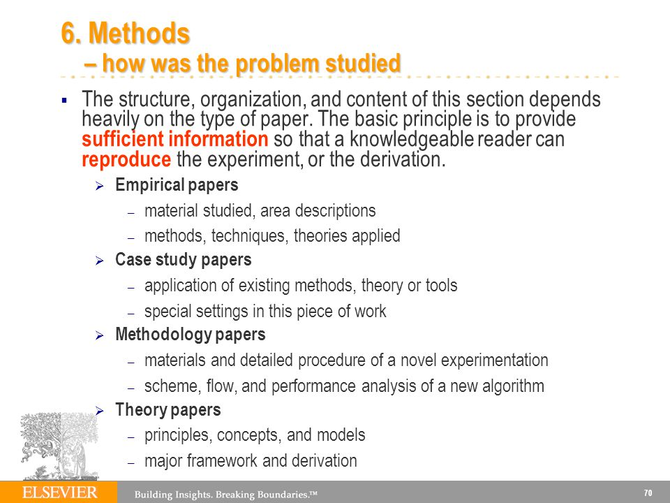 6. Methods – how was the problem studied
