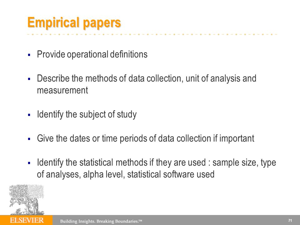 Empirical papers Provide operational definitions