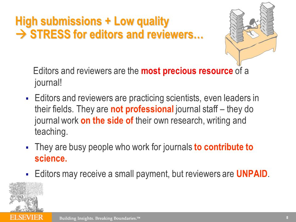 High submissions + Low quality  STRESS for editors and reviewers…
