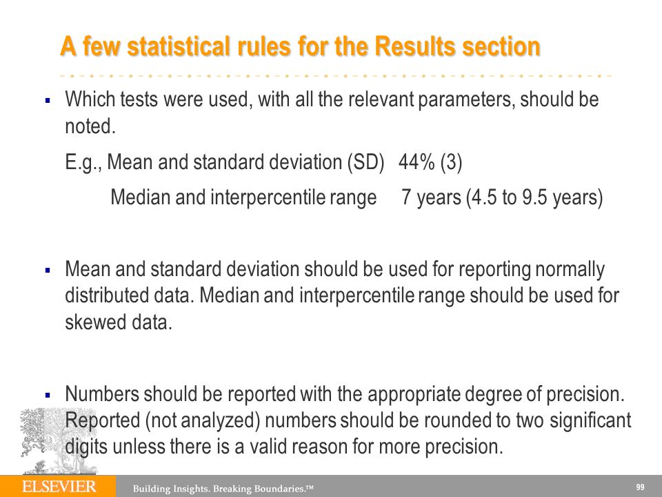 A few statistical rules for the Results section