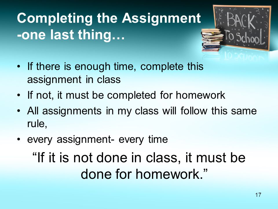 Completing the Assignment -one last thing…