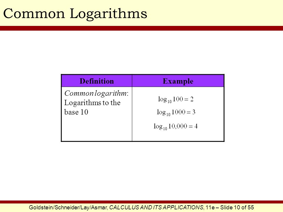 Common Logarithms Definition Example