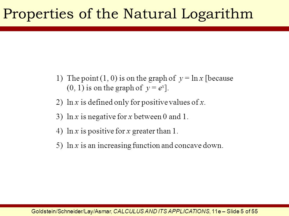 Properties of the Natural Logarithm