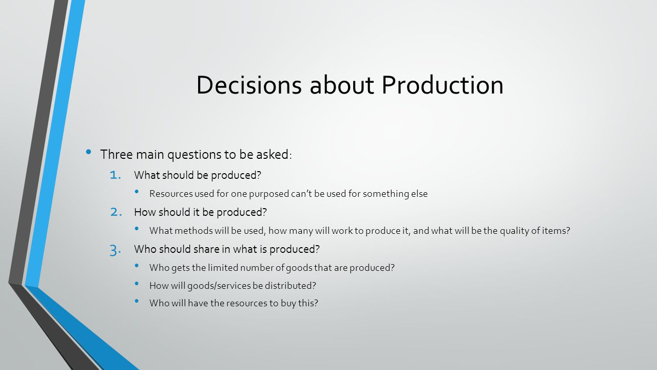 Decisions about Production