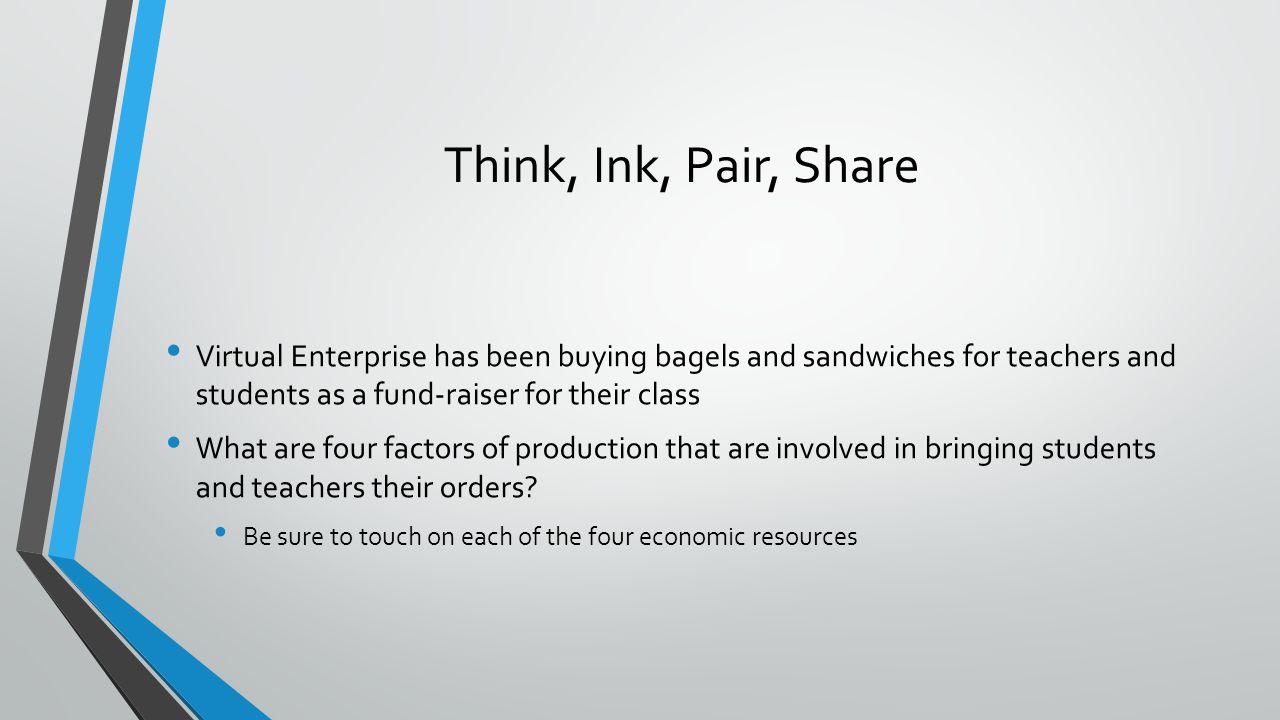 Think, Ink, Pair, Share Virtual Enterprise has been buying bagels and sandwiches for teachers and students as a fund-raiser for their class.
