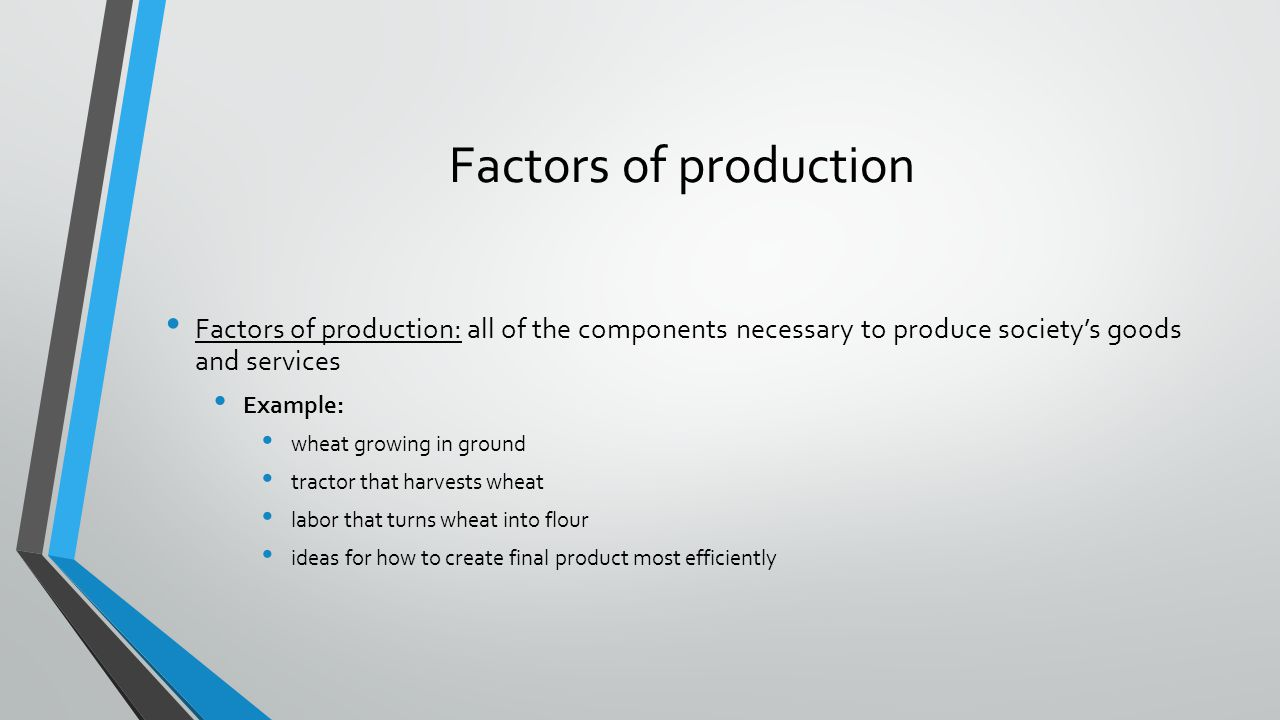 Factors of production Factors of production: all of the components necessary to produce society's goods and services.
