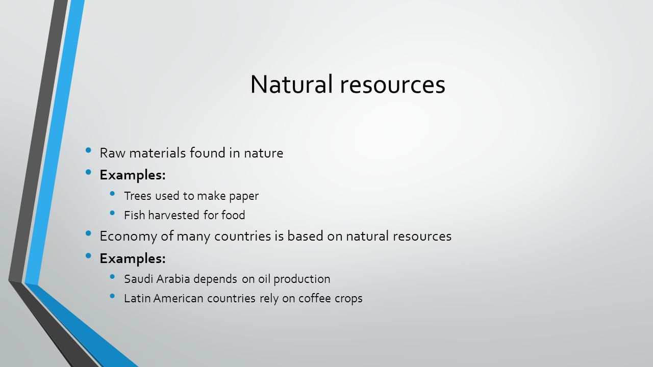 Natural resources Raw materials found in nature Examples: