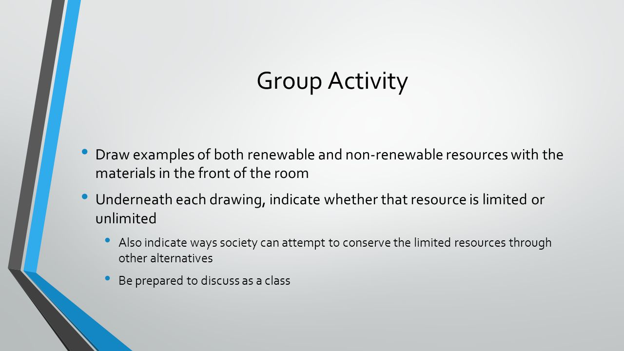 Group Activity Draw examples of both renewable and non-renewable resources with the materials in the front of the room.