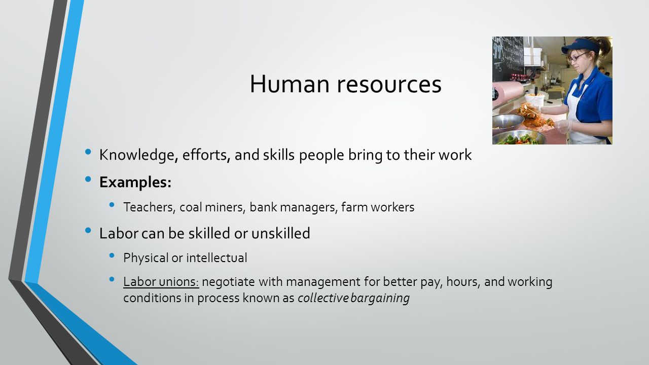 Human resources Knowledge, efforts, and skills people bring to their work. Examples: Teachers, coal miners, bank managers, farm workers.