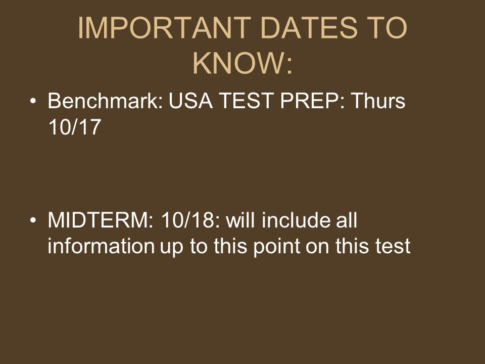 IMPORTANT DATES TO KNOW: