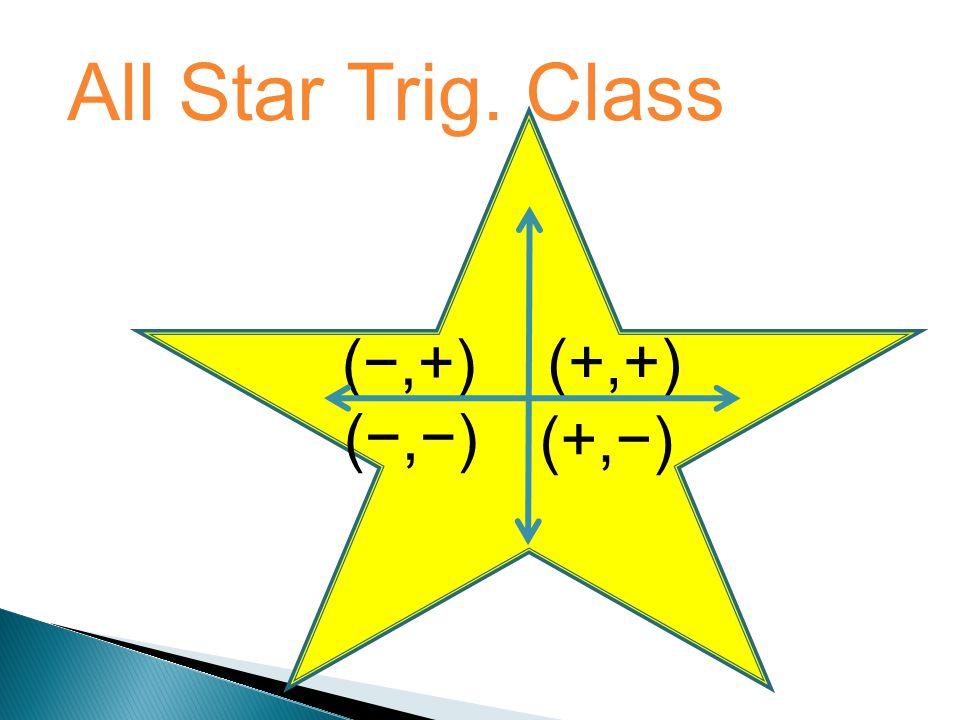 All Star Trig. Class (−,+) (+,+) (−,−) (+,−)