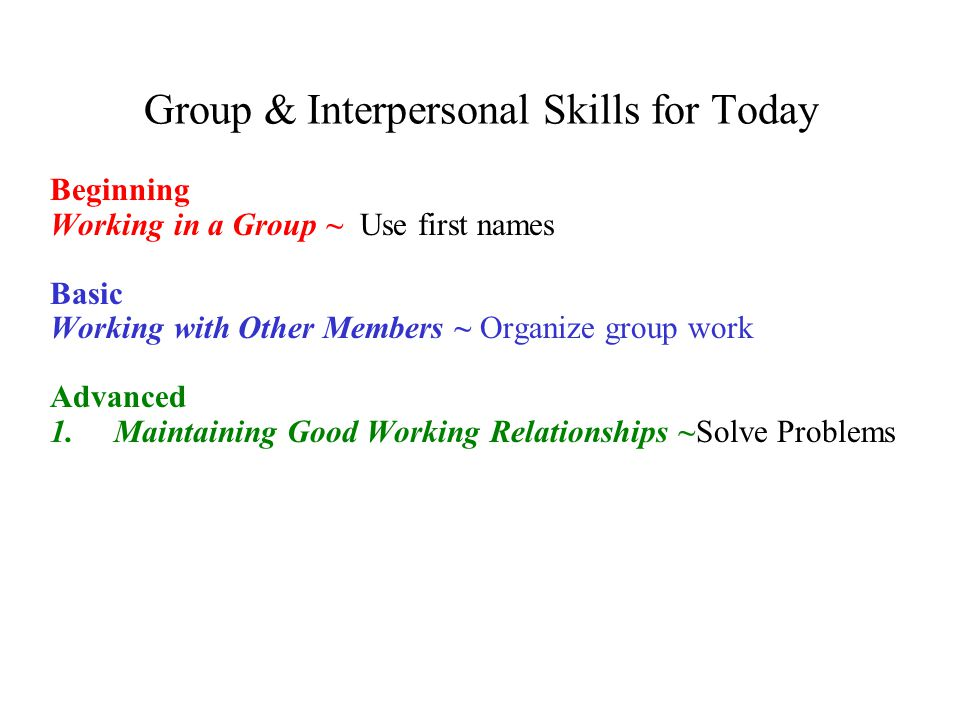 Group & Interpersonal Skills for Today
