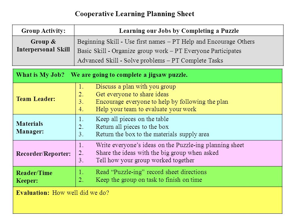 Cooperative Learning Planning Sheet