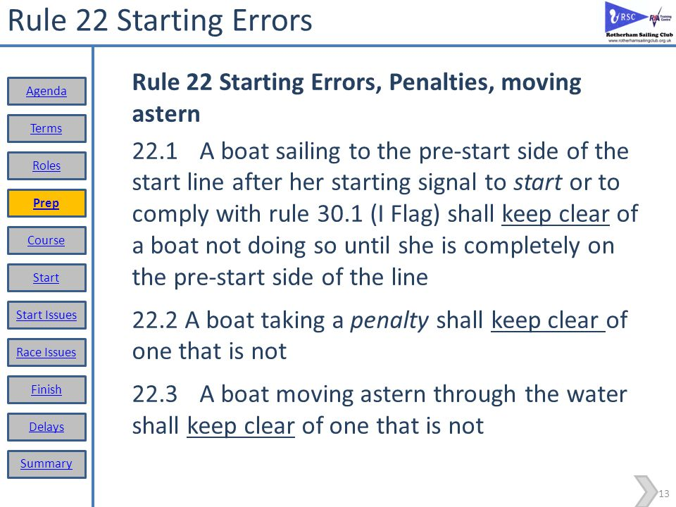Rule 22 Starting Errors Rule 22 Starting Errors, Penalties, moving astern.