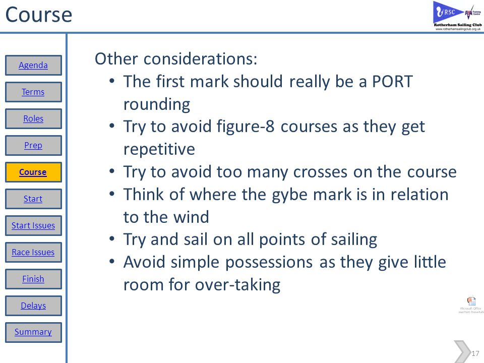 Course Other considerations: