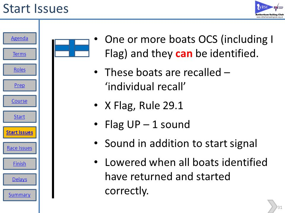 Start Issues One or more boats OCS (including I Flag) and they can be identified. These boats are recalled – 'individual recall'