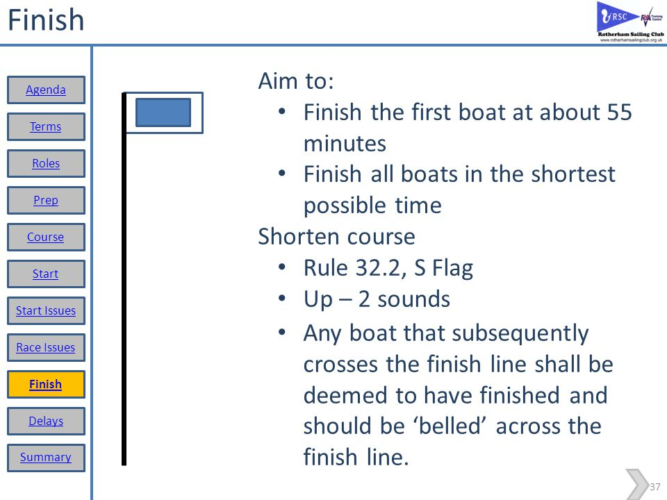 Finish Aim to: Finish the first boat at about 55 minutes