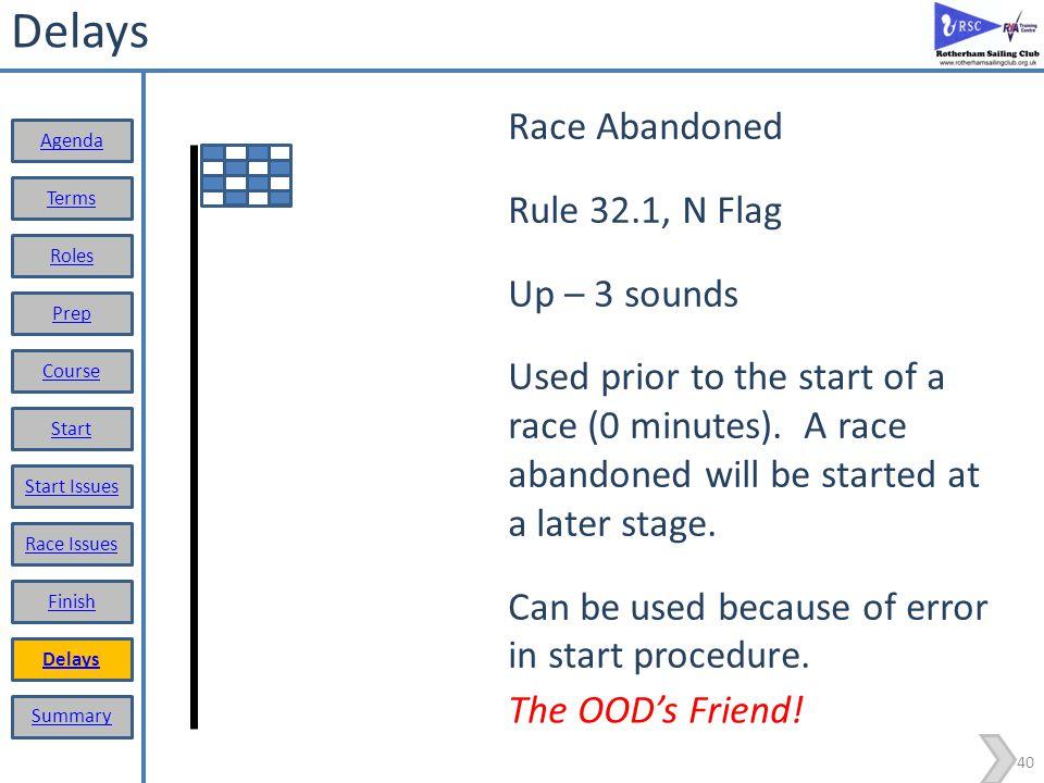Delays Race Abandoned Rule 32.1, N Flag Up – 3 sounds