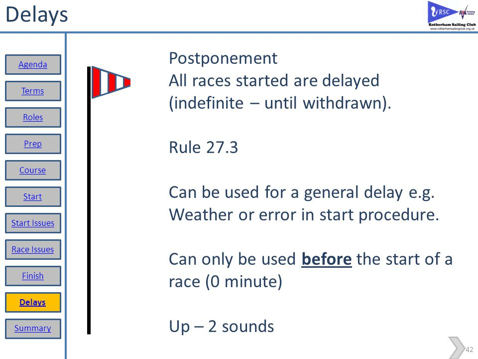Delays Postponement. All races started are delayed (indefinite – until withdrawn). Rule 27.3.